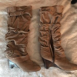 Slouchy soft suede heeled boots